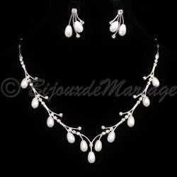 """""""UNE FÉE"""" parure de bijoux de mariage, perles,ton argent 3022-06082012"""